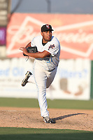Danny Miranda #31 of the Inland Empire 66ers pitches against the Bakersfield Blaze at San Manuel Stadium on August 21, 2014 in San Bernardino, California. Inland Empire defeated Bakersfield, 3-1. (Larry Goren/Four Seam Images)