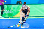 Michelle Kasold #18 of United States reverse stick passes the ball into the circle during Great Britain vs USA in a women's Pool B game at the Rio 2016 Olympics at the Olympic Hockey Centre in Rio de Janeiro, Brazil.