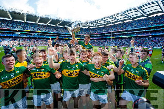 David Clifford Kerry captain lifts the Tom Markham Cup after defeating Derry in the All-Ireland Minor Footballl Final in Croke Park on Sunday.
