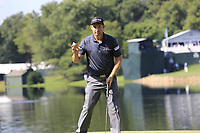 Padraig Harrington (IRL) sinks his putt on the 14th green during Thursday's Round 1 of the 2017 PGA Championship held at Quail Hollow Golf Club, Charlotte, North Carolina, USA. 10th August 2017.<br /> Picture: Eoin Clarke | Golffile<br /> <br /> <br /> All photos usage must carry mandatory copyright credit (&copy; Golffile | Eoin Clarke)