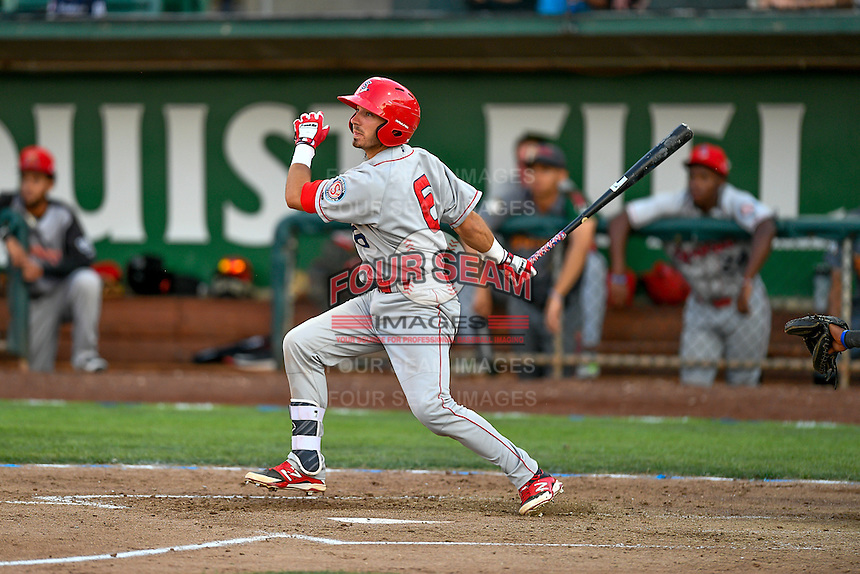 Northwest League All-Star Seth Spivey (6) of the Spokane Indians at bat against the Pioneer League All-Stars at the 2nd Annual Northwest League-Pioneer League All-Star Game at Lindquist Field on August 2, 2016 in Ogden, Utah. The Northwest League defeated the Pioneer League 11-5. (Stephen Smith/Four Seam Images)