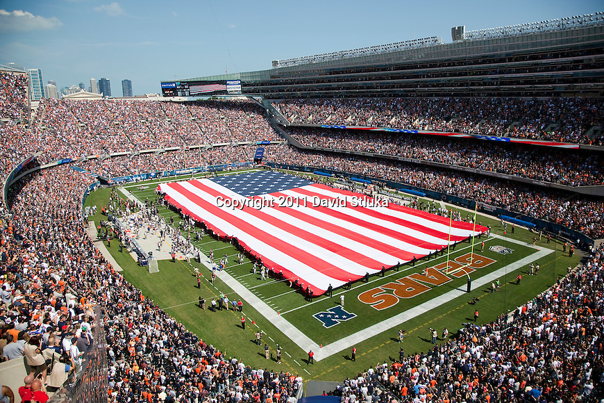A general view of Soldier Field during the National Anthem prior to the Chicago Bears Week 1 NFL football game against the Atlanta Falcons on September 11, 2011 in Chicago. The Bears won 30-12. (AP Photo/David Stluka)