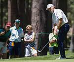 John Smoltz chips onto the 16th green during the ACC Golf Tournament at Edgewood Tahoe Golf Course in South Lake Tahoe on Sunday, July 14, 2019.