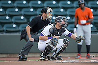 Winston-Salem Dash catcher Sean O'Connell (14) sets a target as home plate umpire Tyler Olson looks on during the game against the Frederick Keys at BB&T Ballpark on May 24, 2016 in Winston-Salem, North Carolina.  The Keys defeated the Dash 7-1.  (Brian Westerholt/Four Seam Images)