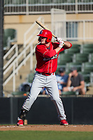Cord Sandberg (32) of the Lakewood BlueClaws at bat against the Kannapolis Intimidators at Kannapolis Intimidators Stadium on April 9, 2017 in Kannapolis, North Carolina.  The BlueClaws defeated the Intimidators 7-1.  (Brian Westerholt/Four Seam Images)