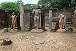 Hatadage three Buddha statues, The Quadrangle, UNESCO World Heritage Site, the ancient city of Polonnaruwa, Sri Lanka, Asia