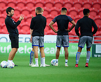 Lincoln City manager Danny Cowley during the pre-match warm-up <br /> <br /> Photographer Andrew Vaughan/CameraSport<br /> <br /> EFL Leasing.com Trophy - Northern Section - Group H - Doncaster Rovers v Lincoln City - Tuesday 3rd September 2019 - Keepmoat Stadium - Doncaster<br />  <br /> World Copyright © 2018 CameraSport. All rights reserved. 43 Linden Ave. Countesthorpe. Leicester. England. LE8 5PG - Tel: +44 (0) 116 277 4147 - admin@camerasport.com - www.camerasport.com