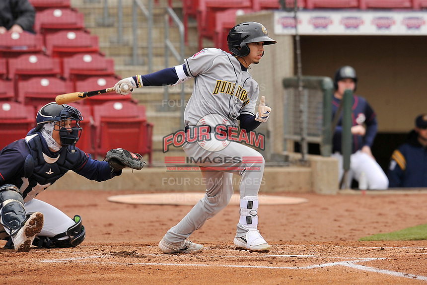 Burlington Bees second baseman Livan Soto (7) swings at a pitch against the Cedar Rapids Kernels at Veterans Memorial Stadium on April 14, 2019 in Cedar Rapids, Iowa.  The Bees won 6-2.  (Dennis Hubbard/Four Seam Images)