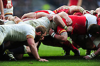 A general view of a scrum during the match. RBS Six Nations match between England and Wales on March 12, 2016 at Twickenham Stadium in London, England. Photo by: Patrick Khachfe / Onside Images