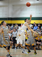 Archbishop Wood's Tommy Funk (3) drives towards the basket as Central Bucks West's Bill Power (3) defends in the first quarter Saturday December 12, 2015 at Archbishop Wood in Warminster, Pennsylvania. (Photo by William Thomas Cain)