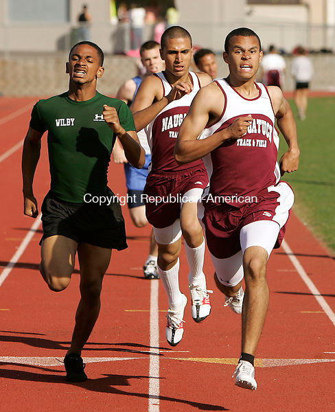 NAUGATUCK, CT 4/24/07- 042407BZ14- Naugatuck's Josh Perry, right, leads Wilby's Nikko Garcia and Naugatuck's Mohamed Hrezi across the line in the 800M Tuesday.<br /> Jamison C. Bazinet Republican-American