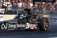 Jul. 18, 2014; Morrison, CO, USA; NHRA top fuel driver Bob Vandergriff Jr during qualifying for the Mile High Nationals at Bandimere Speedway. Mandatory Credit: Mark J. Rebilas-