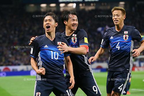 (L to R)<br /> Shinji Kagawa, <br /> Shinji Okazaki, <br /> Keisuke Honda (JPN), <br /> MARCH 29, 2016 - Football / Soccer : <br /> FIFA World Cup Russia 2018 Asian Qualifier <br /> Second Round Group E match <br /> between Japan - Syria <br /> at Saitama Stadium 2002, Saitama, Japan. <br /> (Photo by YUTAKA/AFLO SPORT)