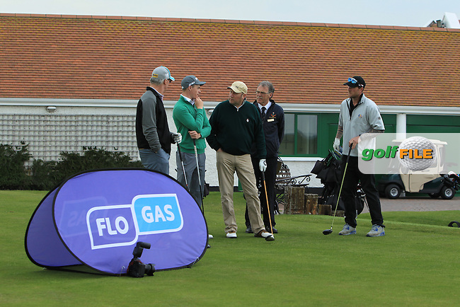 Stuart Grehan (Tullamore) and his team on the 1st tee during the Flogas Irish Amateur Open Championship Am-Am at Royal Dublin on Monday 9th May 2016.<br /> Picture:  Thos Caffrey / www.golffile.ie