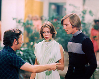 Logan's Run (1976) <br /> Behind the scenes photo of Michael Anderson, Jenny Agutter &amp; Michael York<br /> *Filmstill - Editorial Use Only*<br /> CAP/KFS<br /> Image supplied by Capital Pictures