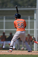 Baltimore Orioles Yariel Vargas (58) during a minor league spring training game against the Boston Red Sox on March 18, 2015 at the Buck O'Neil Complex in Sarasota, Florida.  (Mike Janes/Four Seam Images)
