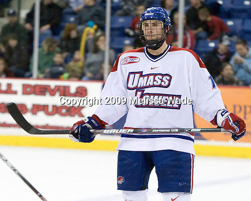 Mike Potacco (UMass-Lowell - 19) - The Northeastern University Huskies defeated the University of Massachusetts-Lowell Riverhawks 3-1 on Saturday, February 28, 2009, at the Paul E. Tsongas Arena in Lowell, Massachusetts.