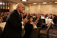 montreal, canada, May 4, 2015.<br /> Former Canadian Prime Minister Brian Mulroney (L) greet<br /> Alain Bouchard after he<br /> delivered  a speech to the Canadian Club of Montreal.<br /> <br /> Photo : Pierre Roussel - Agence Quebec Presse