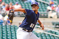 San Antonio Missions pitcher Angel Perdomo (50) delivers a pitch during a Pacific Coast League game against the Iowa Cubs on May 2, 2019 at Principal Park in Des Moines, Iowa. Iowa defeated San Antonio 8-6. (Brad Krause/Four Seam Images)