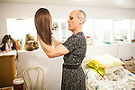 Karen Scot, 56, prepares her wig at her North Fork, California home before her first day teaching as a transgendered woman at Yosemite High School in Oakhurst, California. Scot has been a science teacher for 30 years.