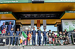 Aqua Blue Sport team on stage outside Le Palais des Princes-&Eacute;v&ecirc;ques at the team presentation before the 104th edition of La Doyenne, Liege-Bastogne-Liege 2018, Belgium. 21st April 2018.<br /> Picture: ASO/Karen Edwards | Cyclefile<br /> <br /> <br /> All photos usage must carry mandatory copyright credit (&copy; Cyclefile | ASO/Karen Edwards)