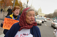 November 23, 2011  (Washington, DC)  Margaret Human, from upstate New York, marches with a small group of OccupyDC protesters who marched to the U.S. Capitol in Washington.  (Photo by Don Baxter/Media Images International)