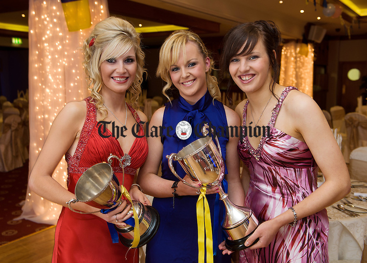 Sharon Rynne, Noelle Arthur and Sinead O Loughlin at the Inagh Camogie Club Dinner Dance in the Falls hotel, Ennistymon, to celebrate their Junior All-Ireland title win. Photograph by John Kelly.