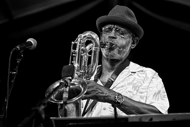 Roger Lewis of Baritone Bliss performing in the Jazz Tent at the 2011 New Orleans Jazz & Heritage Festival at the Fair Grounds Race Course in New Orleans, LA. USA.