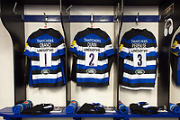 A general view of the jerseys of Beno Obano, Tom Dunn and Anthony Perenise hung up in the Bath Rugby changing rooms. Aviva Premiership match, between Bath Rugby and Saracens on September 9, 2017 at the Recreation Ground in Bath, England. Photo by: Patrick Khachfe / Onside Images