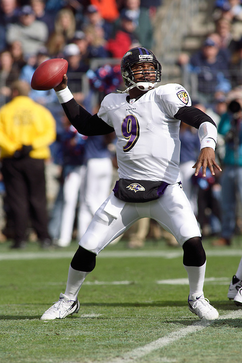Ravens quarterback Steve McNair throws a pass in the first quarter against the Titans at LP Field in Nashville, Tennessee on November 12, 2006. The Baltimore Ravens won 27-26.