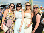 Paula Kelly, Deirdre Barry, Stephanie Grogan and Dee Farrelly pictured at Bellewstown races. Photo:Colin Bell/pressphotos.ie