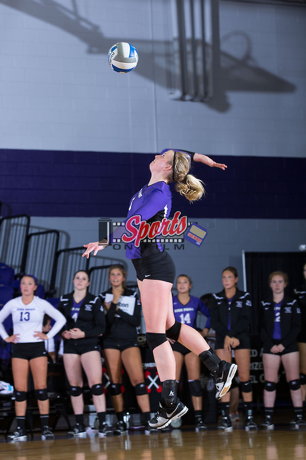 Katie Vincent (1) of the High Point Panthers attacks the ball during the match against the UNC Greensboro Spartans at Millis Athletic Center on September 16, 2014 in High Point, North Carolina.  The Panthers defeated the Spartans 3-0.   (Brian Westerholt/Sports On Film)