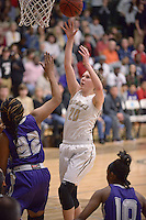NWA Democrat-Gazette/BEN GOFF @NWABENGOFF<br /> Maren Johnston of Bentonville makes a basket as Jasmine Franklin of Fayetteville defends on Friday Feb. 26, 2016 during the game in Bentonville's Tiger Arena.