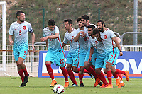 Turkey U21's celebrate their second goal scored by Kubilay Kanatsizkus during Portugal Under-19 vs Turkey Under-21, Tournoi Maurice Revello Football at Stade Parsemain on 3rd June 2018
