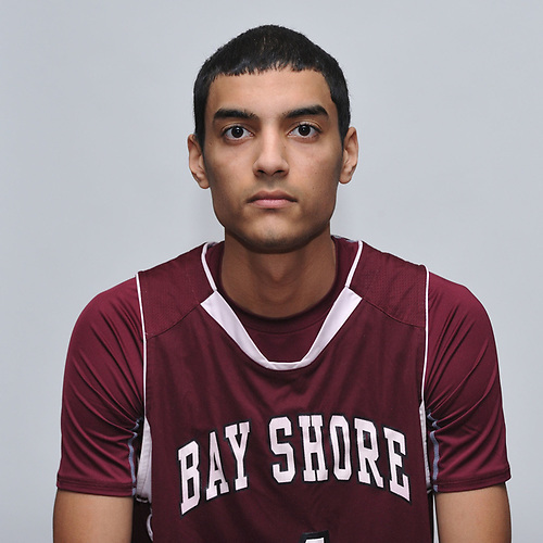 Jose Rivera of Bay Shore poses for a portrait during Newsday's 2017 All-Long Island boys basketball photo shoot at company headquarters on Monday, March 27, 2017.