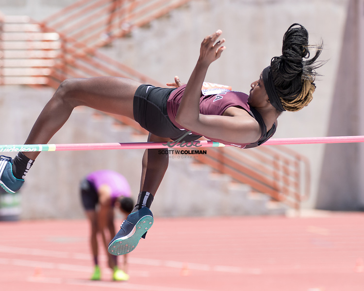 Brady Lyssy of Falls City High School High School competes in the Class 2A pole vault event at the UIL State Track and Field Meet at Mike A. Myers Stadium in Austin, Texas, on Saturday, May 12, 2017.JaLynn Bonner of Columbia High School competes in the Class 4A high jump event at the UIL State Track and Field Meet at Mike A. Myers Stadium in Austin, Texas, on Friday, May 12, 2017.
