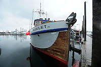 The M/V Auklet, a 58-foot wooden research vessel, is tied up at the Prince William Sound, Southcentral Alaska dock at the town of Cordova on a spring morning in early May. PR