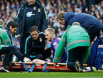 Joe Hart of Manchester City is stretchered off during the Barclays Premier League match at The Etihad Stadium. Photo credit should read: Simon Bellis/Sportimage