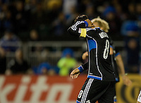 Chris Wondolowski of Earthquakes reacts after missing a goal during the game against LA Galaxy at Buck Shaw Stadium in Santa Clara, California on November 7th, 2012.   LA Galaxy defeated San Jose Earthquakes, 3-1.