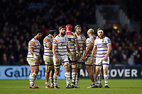 The Leicester Tigers forwards look on. Gallagher Premiership match, between Harlequins and Leicester Tigers on May 3, 2019 at the Twickenham Stoop in London, England. Photo by: Patrick Khachfe / JMP