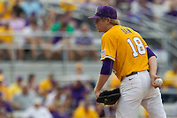 LSU Tigers pitcher Austin Bain (18) looks to his catcher for the sign during the Southeastern Conference baseball game against the Texas A&M Aggies on April 25, 2015 at Alex Box Stadium in Baton Rouge, Louisiana. Texas A&M defeated LSU 6-2. (Andrew Woolley/Four Seam Images)