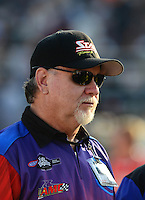 Oct. 5, 2012; Mohnton, PA, USA: NHRA pro stock motorcycle team owner George Bryce during qualifying for the Auto Plus Nationals at Maple Grove Raceway. Mandatory Credit: Mark J. Rebilas-