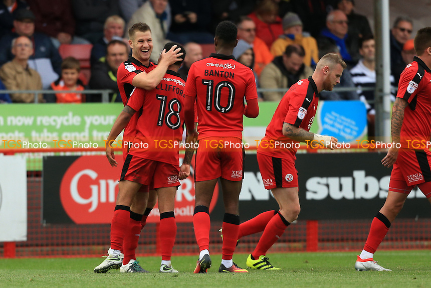 James Collins of Crawley Town celebrates the opener during Crawley Town vs Luton Town, Sky Bet EFL League 2 Football at Broadfield Stadium on 17th September 2016