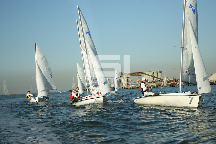 13 October 2005: Action during the Stanford Sailing practice in Redwood Shores, CA.