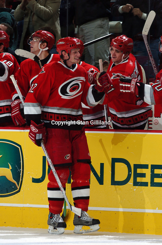 Carolina Hurricanes' Eric Staal celebrates a goal against the New York Rangers with his bench Thursday, Nov. 17, 2005 in Raleigh, NC. Carolina won 5-1.