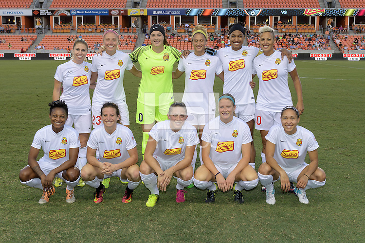 Houston, TX - Saturday July 30, 2016: Western New York Flash Starting XI prior to a regular season National Women's Soccer League (NWSL) match between the Houston Dash and the Western New York Flash at BBVA Compass Stadium.