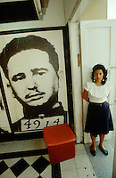 CUBA, SANTIAGO DE CUBA..Moncada Casern Museum, portrait of Fidel Castro as prisoner after failed coup..(Photo by Heimo Aga)