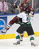 Brian Boyle, Zach Jones - The Boston College Eagles defeated the University of North Dakota Fighting Sioux 6-5 on Thursday, April 6, 2006, in the 2006 Frozen Four afternoon Semi-Final at the Bradley Center in Milwaukee, Wisconsin.