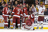 "Brian Gibbons (BC - 17) celebrates the ""goal"" - Michael Biega (Harvard - 27), Alex Biega (Harvard - 3), Joe Whitney (BC - 15), Chad Morin (Harvard - 7), Kyle Richter (Harvard - 33) - The Boston College Eagles defeated the Harvard University Crimson 6-0 on Monday, February 1, 2010, in the first round of the 2010 Beanpot at the TD Garden in Boston, Massachusetts."