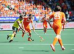 The Hague, Netherlands, June 15: Liam de Young #2 of Australia defends against Rogier Hofman #22 of The Netherlands during the field hockey gold match (Men) between Australia and The Netherlands on June 15, 2014 during the World Cup 2014 at Kyocera Stadium in The Hague, Netherlands. Final score 6-1 (2-1)  (Photo by Dirk Markgraf / www.265-images.com) *** Local caption ***